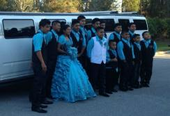 Quinceanera group in The Hummer Limo