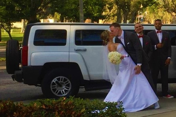 Bride & Groom with Hummer Limo