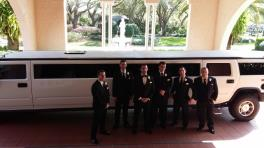Groom & Groomsmen with H2 Limo